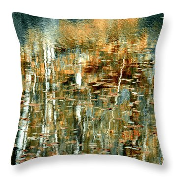 Throw Pillow featuring the photograph Reflections In Teal by Ann Bridges