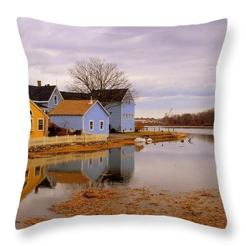 Reflections In The Harbor Throw Pillow