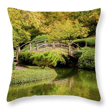 Throw Pillow featuring the photograph Reflections In The Japanese Garden by Iris Greenwell
