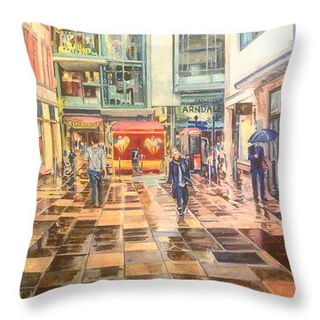 Reflections In The Pavement, Brown Street, Manchester Throw Pillow