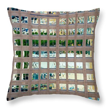 Throw Pillow featuring the photograph Reflections In Windows Of Office Building by Bryan Mullennix