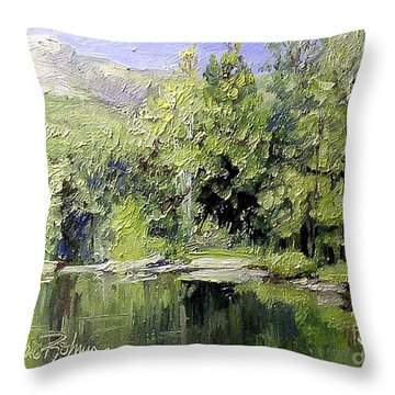 Throw Pillow featuring the painting Reflections by Laurie Rohner