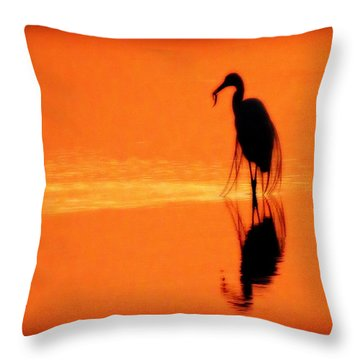 Reflections Of A Heron Throw Pillow