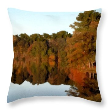 Throw Pillow featuring the painting Reflections Of A Pennsylvania Autumn by David Dehner