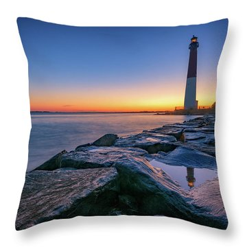 Reflections Of Barnegat Light Throw Pillow