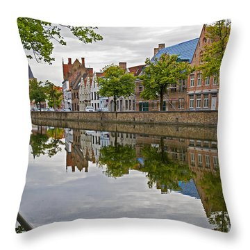 Reflections Of Brugge Throw Pillow