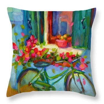 Throw Pillow featuring the painting Reflections Of Burano by Chris Brandley