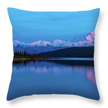 Sunset Reflections Of Denali In Wonder Lake Throw Pillow