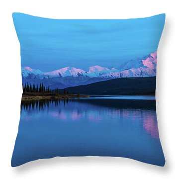 Sunset Reflections Of Denali In Wonder Lake Throw Pillow
