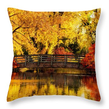 Reflections Of Fall Throw Pillow by Kristal Kraft