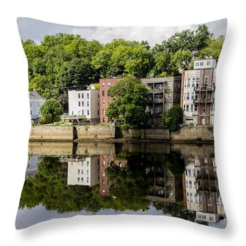 Reflections Of Haverhill On The Merrimack River Throw Pillow by Betty Denise