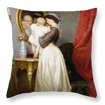 Reflections Of Maternal Love Throw Pillow by Robert Julius Beyschlag
