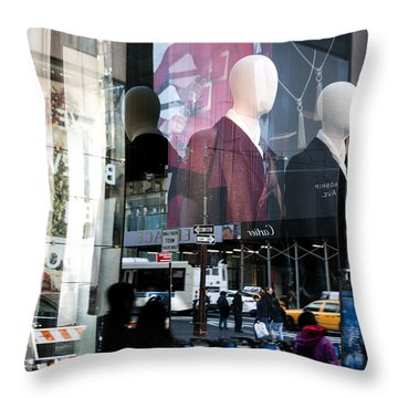 Reflections Of New York Throw Pillow by Allen Carroll