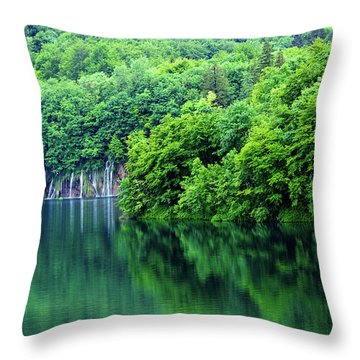 Reflections Of Plitvice, Plitvice Lakes National Park, Croatia Throw Pillow