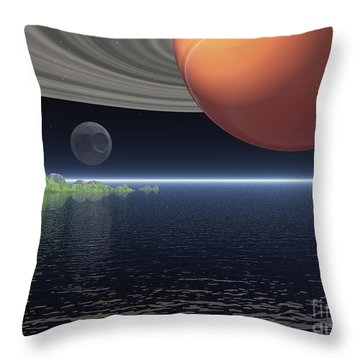 Throw Pillow featuring the digital art Reflections Of Saturn by Phil Perkins
