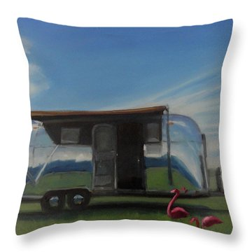 Reflections Of The Airstream Factory Throw Pillow