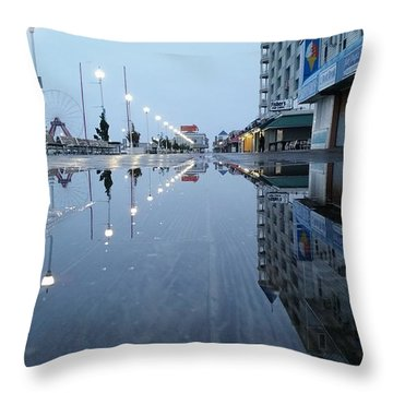 Reflections Of The Boardwalk Throw Pillow by Robert Banach
