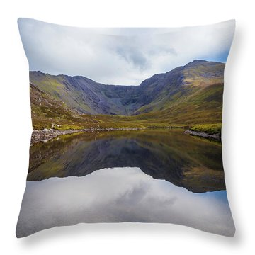 Throw Pillow featuring the photograph Reflections Of The Macgillycuddy's Reeks In Lough Eagher by Semmick Photo