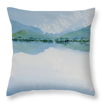 Reflections Of The Skies And Mountains Surrounding Bathurst Harbour Throw Pillow