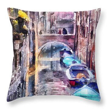 Reflections Of Venice Throw Pillow by Shirley Stalter