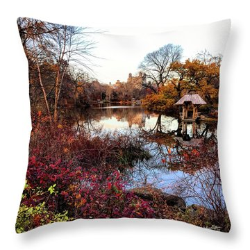 Throw Pillow featuring the photograph Reflections On A Winter Day - Central Park by Madeline Ellis