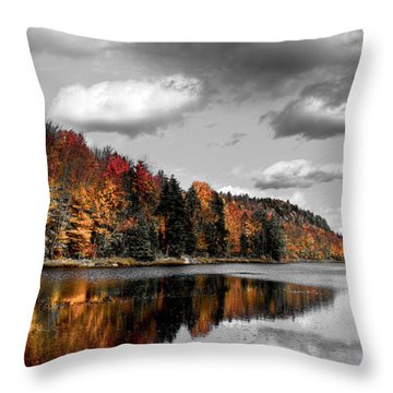 Reflections On Bald Mountain Pond II Throw Pillow