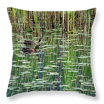Reflections On Duck Pond Throw Pillow by Sharon Talson