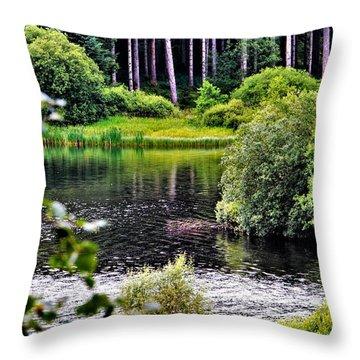 Reflections On Kielder Water Throw Pillow