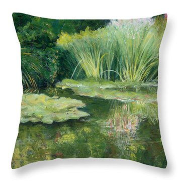 Reflections On Monets Lily Pond Throw Pillow by Tara Moorman