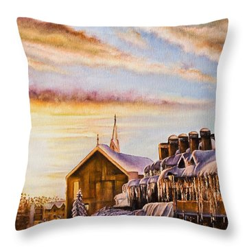Reflections On The Snow Throw Pillow