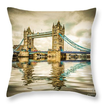 Reflections On Tower Bridge Throw Pillow