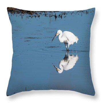 Reflections White Egret Throw Pillow