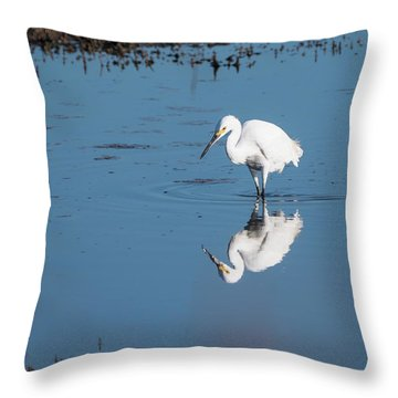 Reflections White Egret Throw Pillow