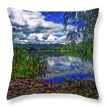 Throw Pillow featuring the painting Reflective Lake by Joan Reese