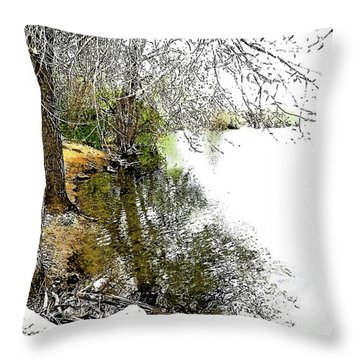 Reflective Trees Throw Pillow