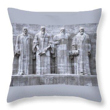 Reformers Wall, Geneva, Switzerland, Hdr Throw Pillow by Elenarts - Elena Duvernay photo