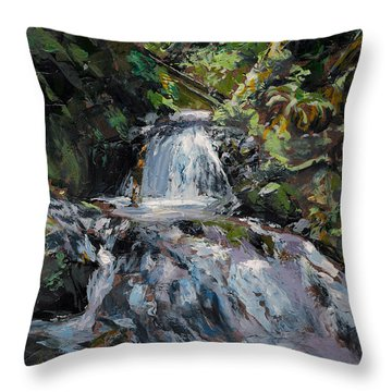 Throw Pillow featuring the painting Refreshed - Rainforest Waterfall Impressionistic Painting by Karen Whitworth