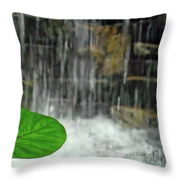 Throw Pillow featuring the photograph Refreshed By The Waterfall by Sue Melvin