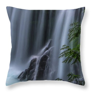 Refreshing Waterfall Throw Pillow by Ulrich Burkhalter