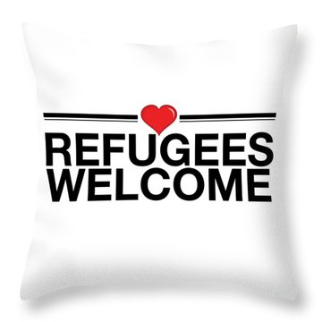 Refugees Wecome Throw Pillow