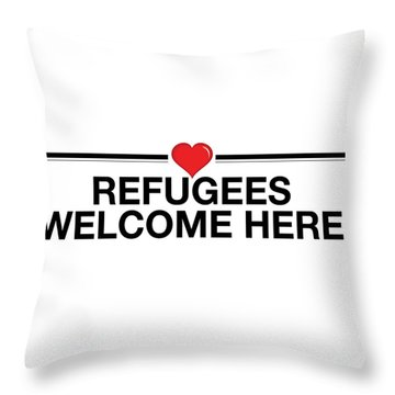 Refugees Welcome Here Throw Pillow