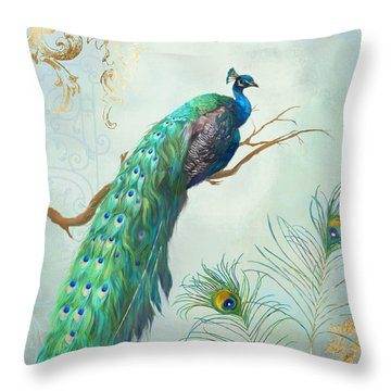Regal Peacock 1 On Tree Branch W Feathers Gold Leaf Throw Pillow