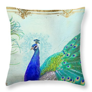 Throw Pillow featuring the painting Regal Peacock 2 W Feather N Gold Leaf French Style by Audrey Jeanne Roberts