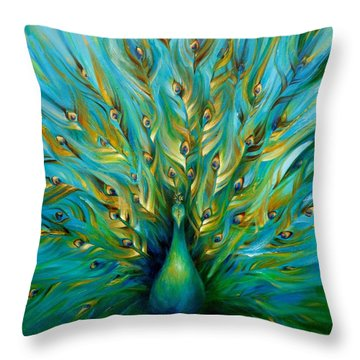 Regal Peacock Throw Pillow by Dina Dargo