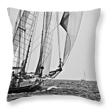 Regatta Heroes In A Calm Mediterranean Sea In Black And White Throw Pillow