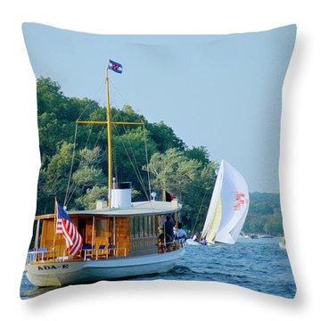 Regatta Watcher - Lake Geneva Wisconsin Throw Pillow