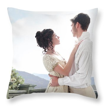 Regency Couple Embracing On The Terrace Throw Pillow