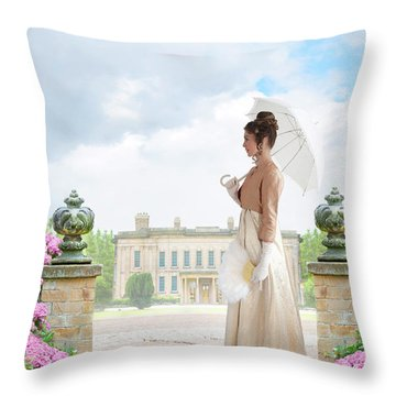 Regency Woman In The Grounds Of A Historic Mansion Throw Pillow