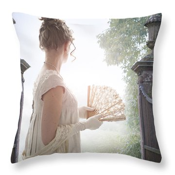 Regency Woman Looking Through A Gateway Throw Pillow