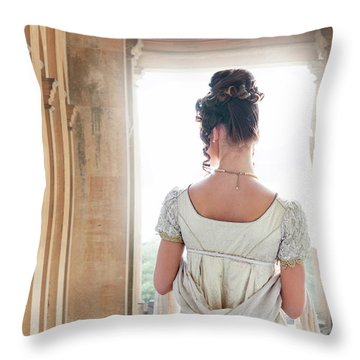 Regency Woman Under A Colonnade Throw Pillow